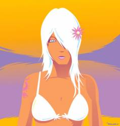 Tropical girl with tattoo vector