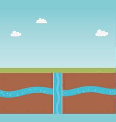 Underground water ground section exploration vector