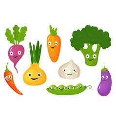 vegetables set healthy vegetarian food vector image