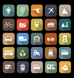 vehicle flat icons with long shadow vector image
