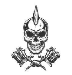 Vintage monochrome tattoo master skull vector