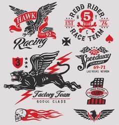Vintage racing insignia graphics set vector