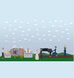 wedding celebration in flat vector image