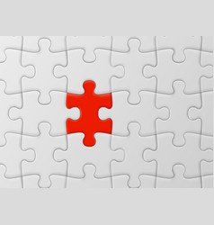 White jigsaw puzzle with unique red piece one of vector