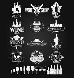 Wine labels and logos chalk drawing vector