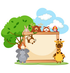 wooden frame with wild animals in background vector image