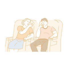 young couple watching movie in cinema on a date vector image