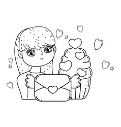 young cute girl lover with envelope vector image