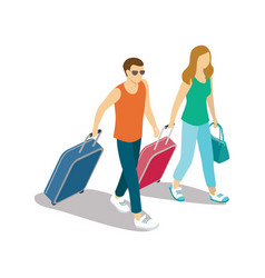 young tourist couple with travel bags vector image