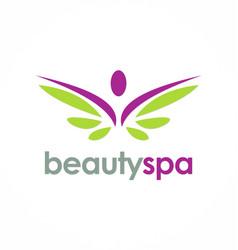 beauty spa wing logo vector image