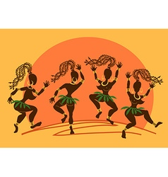 Dancing African aborigine girls at sunset vector image