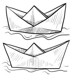 doodle paper boats vector image