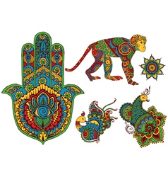 elements of design in the style of mehndi vector image