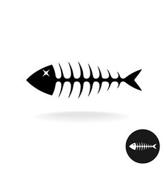 Fish bones simple black flat silhouette logo vector image