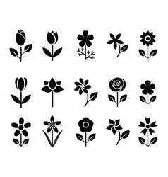flower set icons vector image