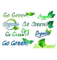 Go green organic labels vector image vector image