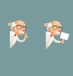 Look out corner old wise scientist character icons vector