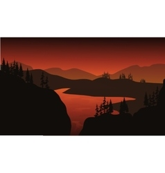 Silhouette of lake with brown backgrounds vector image vector image