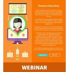 Webinare Distance Education and Learning Concept vector image vector image