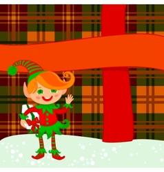 elf and big present vector image vector image