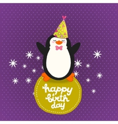Happy Birthday card background with cute penguin vector image