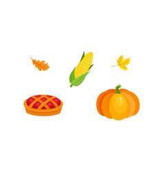 harvest symbols - pumpkin corn pie fall leaves vector image