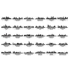 incredible set of usa city skyline vector image vector image