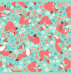 little cute squirrels on flowers meadow seamless vector image