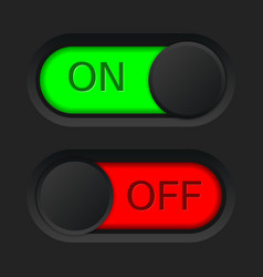 on and off toggle switch button red and green vector image vector image