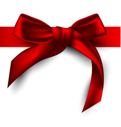 red satin ribbon tied with a bow highly realistic vector image vector image