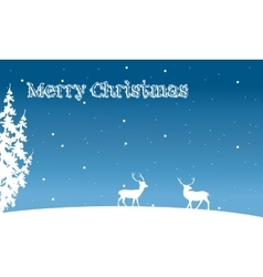 Silhouette of Christmas deer and spruce winter vector image