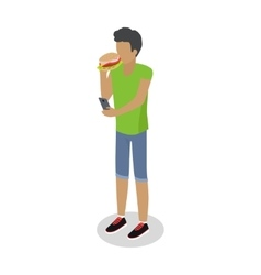 Street Food Buyer Isolated Man Eats Hot Dog vector image vector image