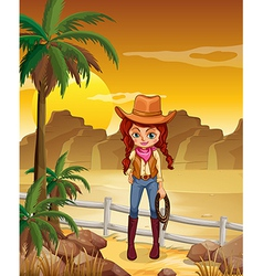 A cowgirl at the dessert vector image vector image