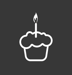 Card with a cream cake with a burning candle over vector