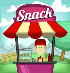 cartoon small business snack fast food stand park vector image