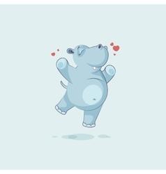 Emoji character cartoon hippopotamus jumping for vector