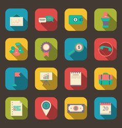 flat icons of business office and marketing items vector image vector image