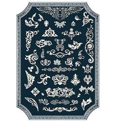 Set of floral elements for design Vintage ornament vector image