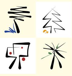 set of stylized icon trees vector image