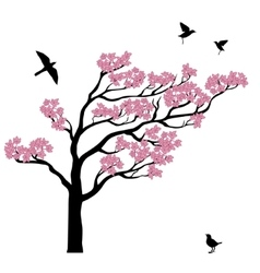 Silhoutte of sakura tree with birds vector image