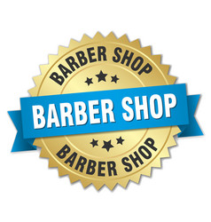 barber shop round isolated gold badge vector image vector image