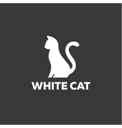 Black cat sitting on a white background Logo vector image vector image