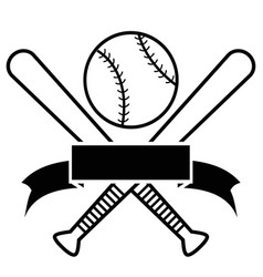 crossed baseball bats and ball with banner vector image