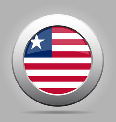 flag of liberia shiny metal gray round button vector image vector image