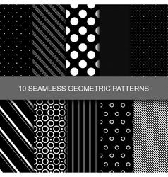 10 Dark geometric seamless patterns vector