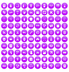 100 activity icons set purple vector