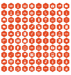 100 war icons hexagon orange vector