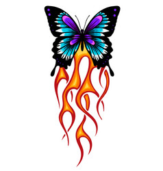 a butterfly made fire vector image