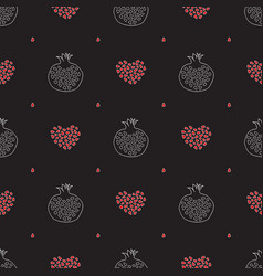abstract pomegranate and stylized hearts pattern vector image