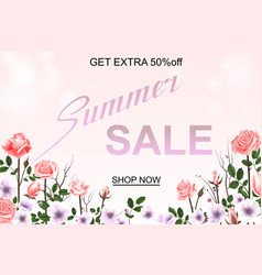 Advertisement about the summer sale on defocused vector